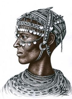 Arts & Dogs (©2013 artmajeur.com/chicasso) Portrait of a Rendille woman (Kenya), charcoal drawing by Nicole Zeug, www.arts-and-faces.de
