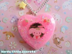 Fairy Kei Pastel Berry Puppy Necklace by NerdyLittleSecrets, $15.00