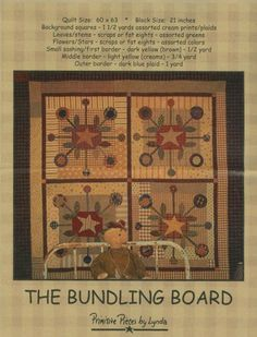 """The Bundling Board Quilt Pattern by Primitive Pieces by Lynda. Finished size 60"""" x 63"""""""