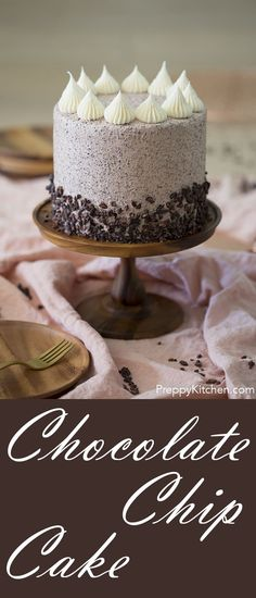Chocolate Chips put into a cake is delicious, isn't it? The buttercream is homemade and very easy to make.