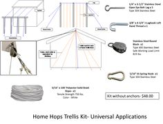 Universal Home Hops Trellis Kit with Ropes (no anchors)