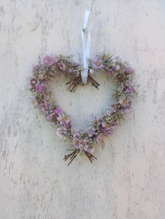 Dried Flower Hanging Heart Pinks, wedding decor, dried flower wreath, heart wall hanging, rustic home decor Pink Wedding Decorations, Wedding Wreaths, Dried Flower Wreaths, Dried Flowers, Heart Wreath, Gypsophila, Heart Wall, Hanging Hearts, Flower Designs