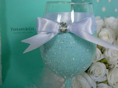 Weddings Wine Glasses Tiffany And Co Bridal Party by KPGDesigns