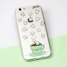 Custom phone case with baby marshmallows falling from the sky into a nice warm cup of hot chocolate. //Pinned on @benitathediva, LifeSTYLE blog.