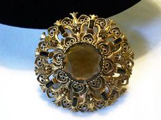BAROQUE STYLE AMBER GLASS & BLACK RHINESTONE VINTAGE FLORENZA PENDANT BROOCH PIN  for sale  http://stores.ebay.com/The-Glitter-Bug