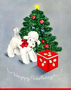 Vintage Greeting Card White Poodle Puppy Dog Christmas Tree Santa Jack In Box Christmas Tree And Santa, Christmas Cats, Christmas Greetings, Christmas Time, Christmas Ideas, Vintage Christmas Images, Retro Christmas, Holiday Images, Christmas Illustration