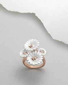 Frosted Sterling Silver & Pink rose gold Four Flower Ring