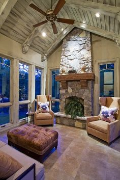 Fireplace Sitting Room For an Enclosed Porch | ♥