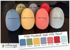 Colorways with Leslie Stocker » Miss Mustard Seed Milk Paint Eggs. French Enamel. Luckett's Green. Mustard Seed Yellow. Dried Lavender. Apron Strings. Tricycle. Eulalie's Sky