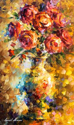 """Wild Roses — PALETTE KNIFE Still Life Modern Wall Art Textured Oil Painting On Canvas By Leonid Afremov - Size: 20"""" x 30"""" (50 cm x 75 cm)"""