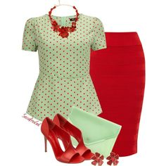So retro and cute!  I'd wear it with red lipstick.  Green Spotty Peplum, created by sassafrasgal on Polyvore
