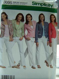 SALE Simplicity 0695 Sewing Pattern - Misses' Jacket, Jacket 5 Styles, Plus Size Pattern, Misses' Petite. $6.00, via Etsy.