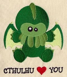 Cthulhu Loves You - Embroidered Flour Sack Hand Towel. $12.99, via Etsy.