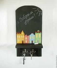 """Купить """"Сказочный городок""""- вешалка, полка, доска для записей, ключница - органайзер, полка, вешалка, ключница"""