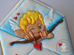Valentine cupid in envelope cookie by My Lovely Cookie