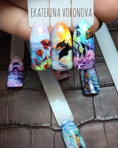 Beautiful nail art - Meaningfull Tattoos For Women's Animal Nail Designs, Best Nail Art Designs, Spring Nail Art, Spring Nails, Sea Nails, Gel Nagel Design, Short Nails Art, Elegant Nails, Nagel Gel