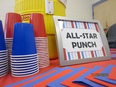 All-star punch table for sports themed baby shower> I love it in igloo cooler! No bugs in there and nice a cold, but not watered down!