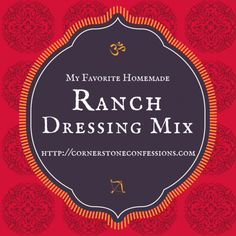 My Favorite Homemade Ranch Dressing Mix