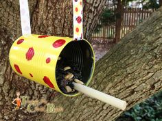 Earth Day Craft Idea Tin Can Bird Feeder - Turning the Cloc Back