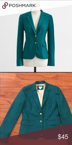 J.Crew Factory Deep Jade School Boy Blazer Cute gold buttons. Good condition. Ask for measurements if interested. J. Crew Jackets & Coats Blazers