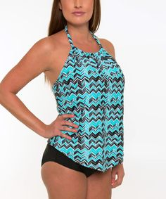Look what I found on #zulily! Sea and Sand Black & Aqua Chevron Halter Tankini Top & Bottoms - Plus Too by Sea and Sand #zulilyfinds