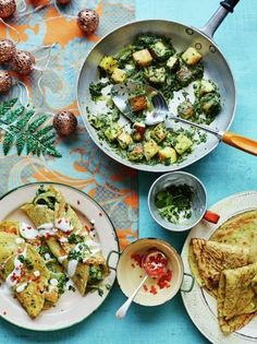 Savoury pancakes with paneer & spinach stuffing