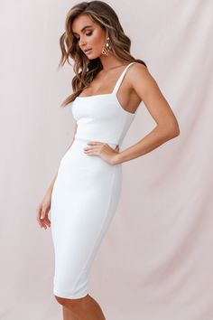 Order the Georgia Square Neckline Midi Dress White only at Selfie Leslie! White Dress Outfit, White Midi Dress, Dress Outfits, White Cocktail Dress, Emo Outfits, Little White Dresses, White Wedding Dresses, Classy Dress, Classy Outfits