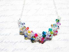 "Rainbow Swarovski Crystal 2X AB Necklace ""Fairy Festival"" by Whimsy Beading $30"