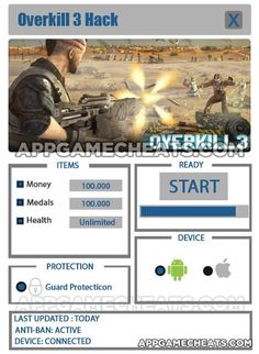 Overkill 3 Cheats & Hack for Money, Medals & Health - http://appgamecheats.com/overkill-3-cheats-hack-money-medals-health/
