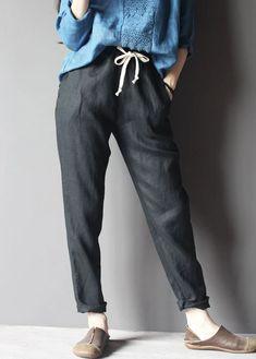 black linen pants women trousers Black Linen Pants, Linen Pants Women, Trousers Women, Pants For Women, Linen Fabric, Cotton Linen, Cotton Pants, Cropped Pants, Casual Pants
