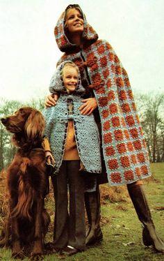 Vintage Crochet Pattern PDF  Granny Squares Hooded Cloak Cape  Retro. £1.95, via Etsy.