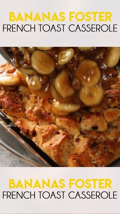 Bananas Foster French Toast Casserole Bananas Foster French Toast Casserole is a majorly mouthwatering breakfast casserole! Made with cinnamon rolls, cream, and a delicious banana topping! Bananas Foster French Toast, Cinnamon Roll French Toast, Banana French Toast, French Toast Bake, Cinnamon Rolls, Crock Pot French Toast, Croissant French Toast, Overnight French Toast, Overnight Breakfast