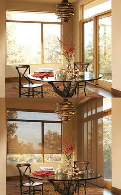 Add a welcoming touch to the holidays with the warm glow of Alustra® Woven Textures® roller shades and  Skyline® Gliding Window Panels. ♦ Hunter Douglas window treatments #DiningRoom