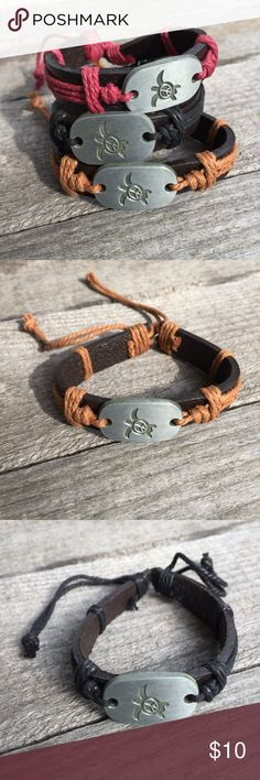 🎉5/$25🎉 Peace Sea Turtle Leather Bracelet Unisex Peace Sea Turtle Leather Bracelet  Bohemian Hippy Retro Style Adjustable length  Silver Tone Black Leather  Choose cord color: Red, Black, Brown Man or Woman All jewelry comes in organza gift bag.   See my other listings with 5 for $25 SALE and save on a bundle! Lots of bags, jewelry and new boutique items. Great for gift giving. I love accepting offers. Boutique Jewelry Bracelets