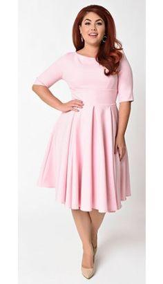 The Pretty Dress Company Plus Size Pale Pink Sleeved Hepburn Swing Dress