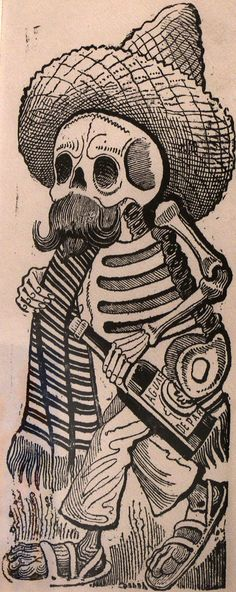 """La Calavera Catrina (The Skull of the Fashionable Lady)"", José Guadalupe Posada, engraving Introduced to satirical art through his ap. Mexican Artists, Mexican Folk Art, Art And Illustration, Memento Mori, Mexican Art Tattoos, Fine Arts Center, Day Of The Dead Art, Chicano Art, Pencil Art Drawings"