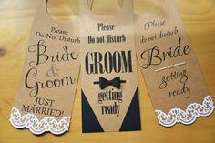 set of 3 DND wedding door hangers Bride Groom by MazzysCraftCorner