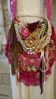 Handmade Vintage Lace Crochet Fabric Shoulder Bag Hippie Gypsy Boho Purse tmyers #Handmade #ShoulderBag