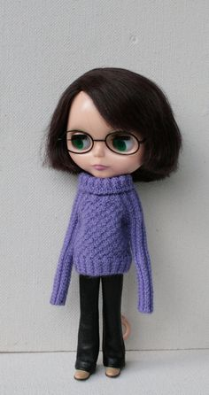 Blythe sweater Lilac doll sweater Lond sleeve Blythe clothes Hand knitted doll outfit Lilac Blythe  clothes Wool outfit Lilac sweater knit