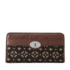 Fossil Maddox Signature Zip Clutch