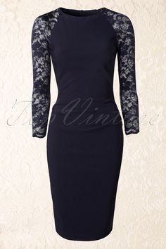 Vintage Chic - 50s Royal Lace Pencil Dress in Navy