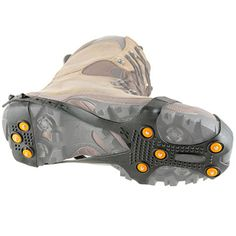 The Any Shoe Ice Grips. These are the adjustable ice cleats that fit over any type of shoe to provide traction and sure footing when standing, walking, or running on snow and ice. Secured with adjustable straps around any type of footwear, including dress shoes, sneakers, and snow boots, the grips have 16 steel spikes strategically placed to provide tread under the toe, ball of the foot and heel.