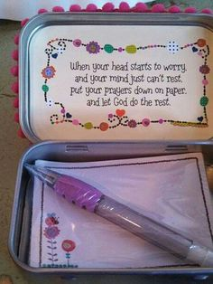 Prayer Box Sayings Idea for inside the lid. Dyi Crafts, Crafts For Kids, Paper Crafts, Recycle Crafts, Homemade Gifts, Diy Gifts, Retreat Gifts, Prayer Box, Recipes From Heaven