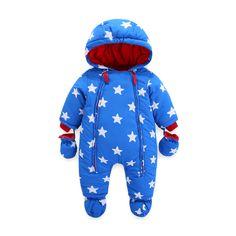 273569c4e7c3 Tueenhuge Baby Winter Romper Hooded Puffer Zipper Snowsuit Down Thick  Jumpsuit (0-6 Months