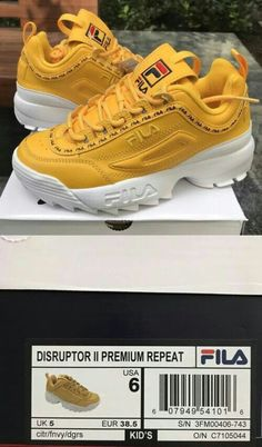 FILA Disruptor LL Premium Repeat Canary Yellow White Women Size 6 for sale online Fila White Sneakers, Cute Sneakers, Shoes Sneakers, Sock Shoes, Kid Shoes, Mustard Shoes, Sneakers Fashion, Fashion Shoes, Fila Outfit