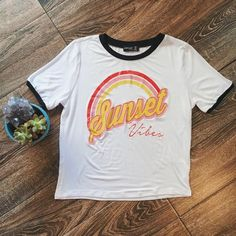 Sunset Vibes Ringer Tee | Retro Top, 70's Style, Festival Fashion, Retro Style, Festival Top