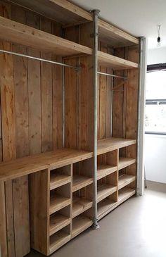 Pallet Wardrobe, Pallet Closet, Wooden Closet, Rustic Closet, Diy Wardrobe, Custom Walk In Closets, Pallet Patio Furniture, Pallet Couch, Pallet Wood