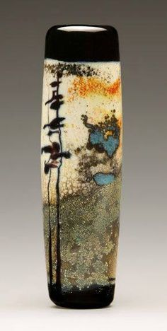 Cynthia Liebler Saari lampwork glass - Gallery of Work - Group 7 Raku Pottery, Pottery Art, Fused Glass, Glass Beads, Sculptures Céramiques, Bottle Vase, Contemporary Ceramics, Ceramic Vase, Handmade Pottery