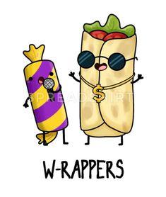 Cute Food Drawings, Funny Drawings, Kawaii Drawings, Food Drawing Easy, Funny Food Puns, Food Humor, Funny Stuff, Funny Doodles, Kawaii Doodles