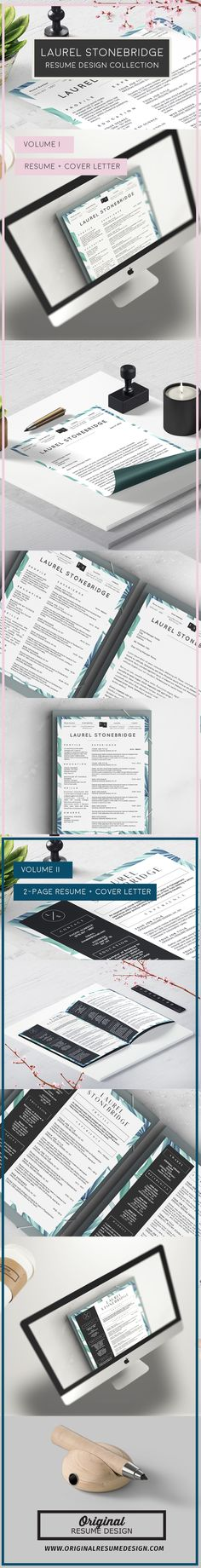 Beautiful Modern Resume Template for Microsoft Word - Laurel Stonebridge Volumes I and II